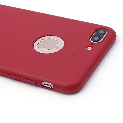iProtect Apple iPhone 7 Plus, iPhone 8 Plus Hülle Farbverlauf Hard Case Schutzhülle orange matt rot.