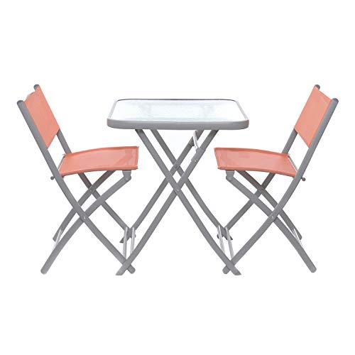 Set tavolo con coppia di sedie pieghevoli