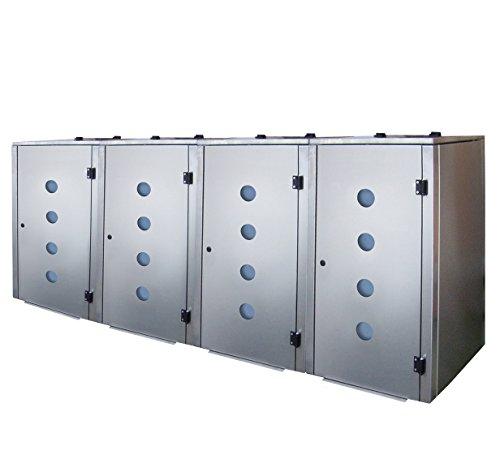 Mülltonnenbox Edelstahl, Modell Eleganza Circ als Viererbox für 120 Liter Tonnen