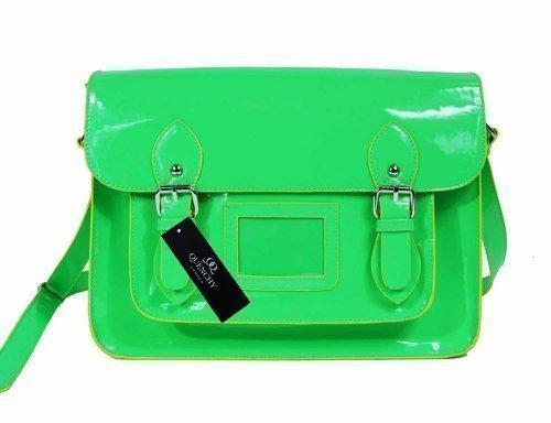 Damen Schulranzen Patent Pvc Leder Umhängetasche Klassisch Retro Taschen Hell NEON Quenchy Q421 - Grün, L
