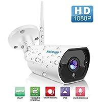 Cámaras de Vigilancia Wifi, SZSINOCAM Cámaras de Vigilancia Interior/Exterior HD 1080P P2P IP66 Detección de Movimiento, 2 vías de audio,Seguridad para casa,IP CCTV Sistema Seguridad para el hogar/ bebé / mascotas