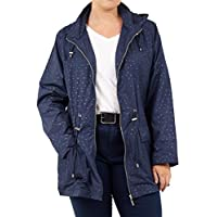 CHOCOLATE PICKLE Womens Polyester Mermaid Lightweight Polka Dot Showerproof Hooded Mac Raincoat Jacket 8-24