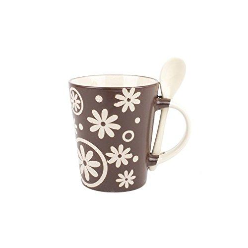 Taza ceramica con cucharilla flores - Marrón oscuro