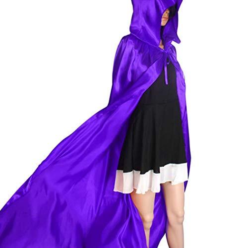 OdeJoy Halloween mit Kapuze Umhang Wicca Robe Mittelalterlich Kap Schal Party Mantel mit Kapuze Lange Samt Cape Vampir Kostüm Halloween Karneval Erwachsener Unisex (Lila, L)