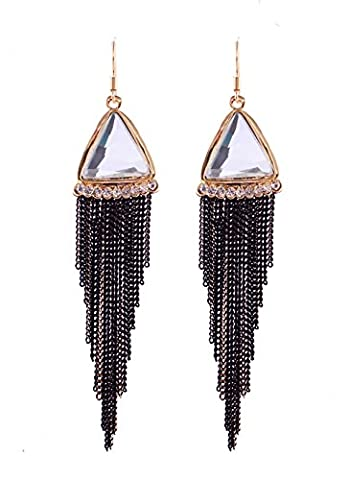 Totoroforet Long Crystal Glass Triangle/Pyramid Earrings with Hooks, Pure White with Black Tassels