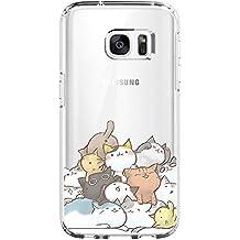 Samsung Galaxy S7 Edge Funda, Croazhi® Cristal Claro Absorción TPU Ultra Fina Parte Trasera Caso Gato Gordo Flor Anti-Rasguño Alta Resistencia y Flexibilidad Case para Samsung Galaxy S7 Edge