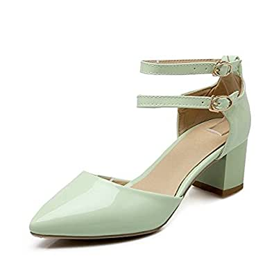 AllhqFashion Women's Buckle Pointed Closed Toe Kitten Heels Patent Leather Solid Pumps Shoes, Green, 34
