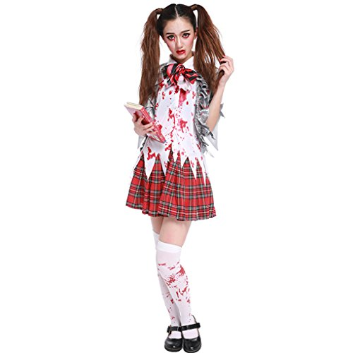 Masterein Frauen M?dchen Halloween Horror Zombie Bloody High School Student Uniform Kost¨¹me (Genie Frauen Für Kostüme)