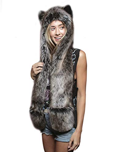 Damen Tierhut Kunst Pelz Warme Nette Kostüm Mütze mit Klappen Pfoten Handhandschuhen ()