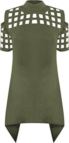 Quadrat Hals T-shirts Tops (WEARALL Damen Laser Schnitt Geöffnet Zurück Top Damen Kalt Schulter Kurz Hülle Taschentuch Saum - Grün - 40)