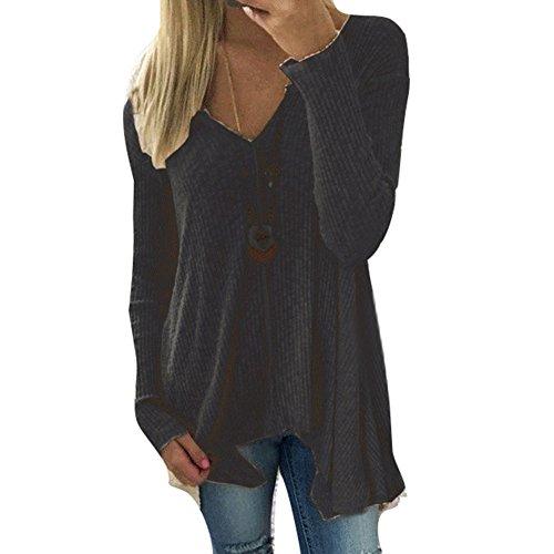 Damen Pullover V-Ausschnitt Sweater - Frauen Oberteile Langarm Shirt Jumper Strickpullover Unregelmäßiger Tops Strickpulli Herbst und Winter Sweatshirt Schwarz XL hibote (Angebote Top)