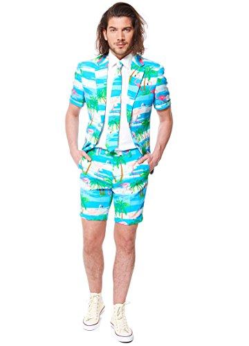 Opposuits Flaminguy Anzug für Herren besteht aus Sakko, Hose und Krawatte mit Flamingo Print