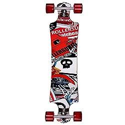 Deuba Atlantic Rift Longboard Dropdown-Bauweise - ABEC 9 Lager Komplettboard Skateboard Skull Surfer Motivauswahl