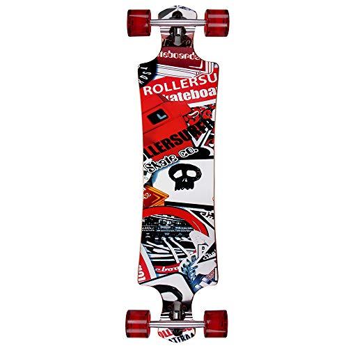 Deuba Atlantic Rift Longboard Dropdown-Bauweise - ABEC 9 Lager Komplettboard Skateboard Skull Surfer Motivauswahl - Lager Cool