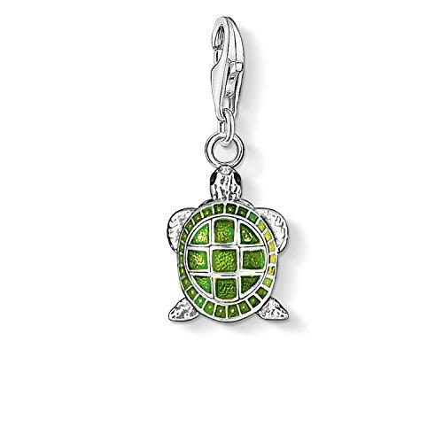Thomas Sabo Damen-Charm-Anhänger Schildkröte Charm Club 925 Sterling Silber grün schwarz 0837-007-6