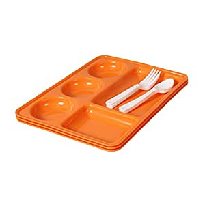 Ruchi Five Partition Square Plates With Fork and Spoon, 9-Pieces, Orange