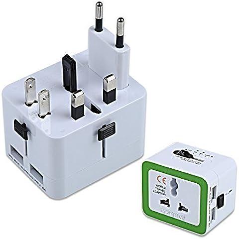 Crenova QU-02 Universal Adaptador de Enchufe de Viaje Adaptador con USB Dual 2.4A - US / UK / EU / AU Enchufe - Compatibles en Más de 150