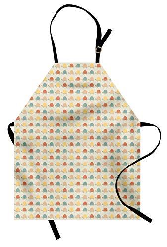 ABAKUHAUS Schildkröte Kochschürze, Glückliche Schildkröten mit Hand gezeichneten Mustern von Tupfen Chevron Zig Zags und Streifen, Schmutz und Wasser abweichent Moderne Druck Technik, Mehrfarbig