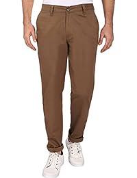 Linenlove Men's Regular Fit Dobby, Light Brown 100% Cotton Formal Trouser For Men