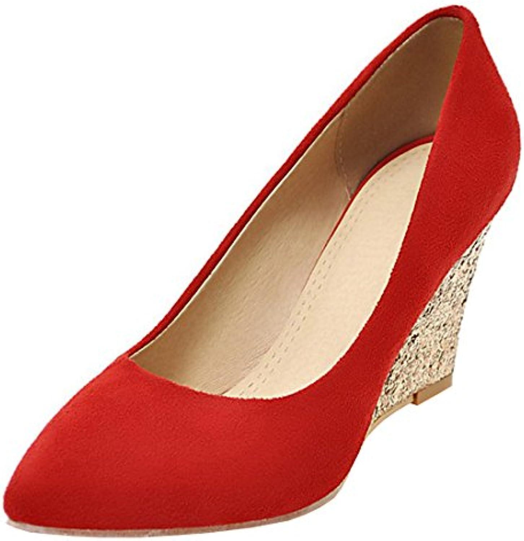 cca4ddc9c48 Atyche Pumps Women s Wedding Wedge Heel Wedding Glitter Court Atyche Shoes  Elegant Pointed Toe Slip on Work Summer Pumps B07CB9447Y Parent 49cdd62