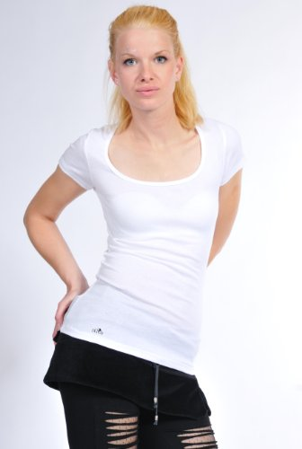 Vêtement été Femme Top Shirt / Chemise manches courtes col rond avec fongus de fée de 3Elfen - Fashion Ladies Blanc Rouge