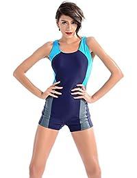 YARBAR Bañador de Mujer Niño-pierna Athletic Bloque de color de una pieza traje de baño