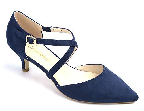 Greatonu Damen Pumps mit Schnürsenkel Kitten Heel Pointed Toe Blau Größe 38 EU -