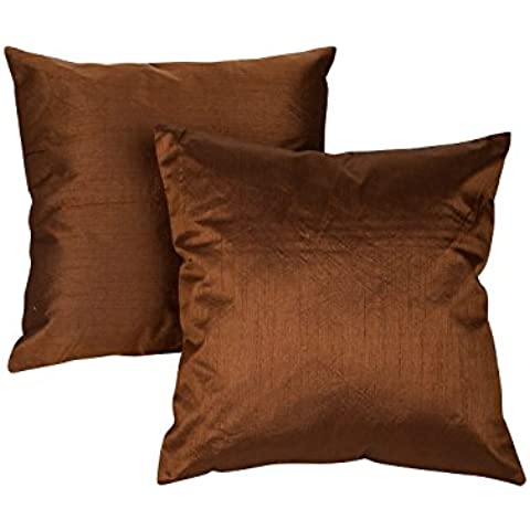 Precioso poliéster y mezcla de poliéster Cojín Brown Fundas de almohadas hilados de distintos colores sólidos fundas de almohada por Rajrang