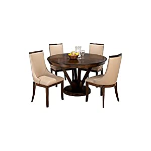 Afydecor Four Seater Dining Set having Fixed Round Table Top – Brown