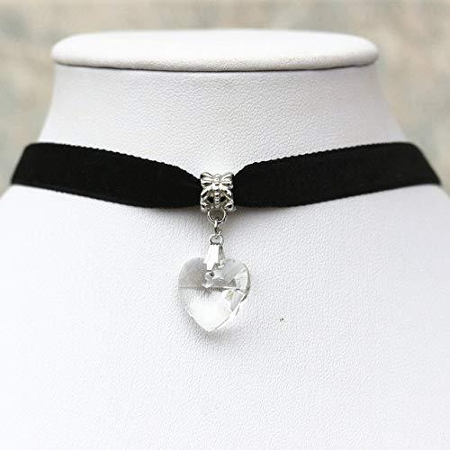 ZUXIANWANG Einfache Kristall Herzen Halsketten Anhänger Gothic Black Velvet Lace Halsketten Halskette, B