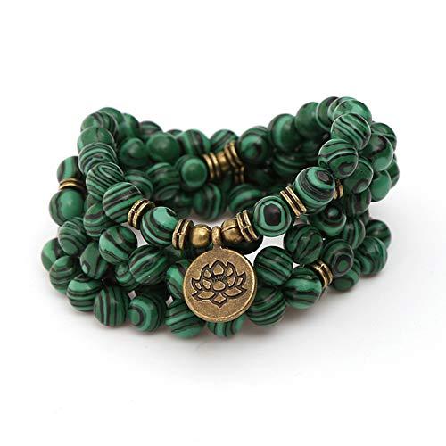 WANZIJING Perlenarmband, 108 buddhistische Gebetsperlen Yoga Meditation echte grüne Malachit Perlen Halskette Schmuck für Vatertagsgeschenk
