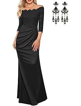 CARINACOCO Donna Eleganti Vestiti Lunghi da Banchetto Senza Spalline Pizzo  Giuntura Vestito Vita Alta Manica Lunga 2dcbcf0997f