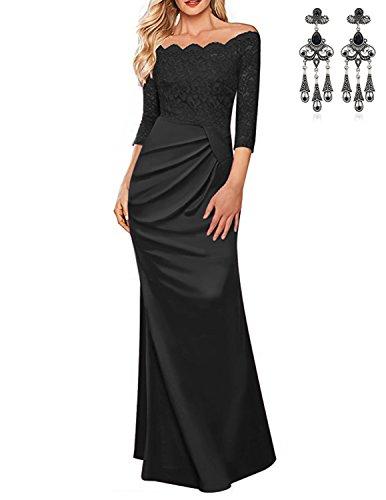 MODETREND Mujer Vestido Encaje de Fiesta Largos de Manga 3/4 Vestidos Elegantes de Noche Ceremonia y Novia Negro XXL