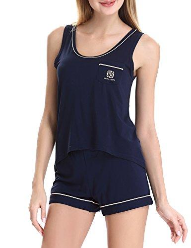 NORA TWIPS Women's Summer Sleepwear Short Sleeve Pajama Shorts and Top Set
