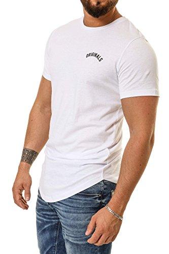 Jack & Jones Herren T-Shirt Kurzarmshirt Oversize Longshirt Basic O-Neck White