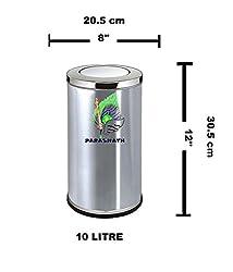 Parasnath Steel Trash can/ Swing dustbin 8''x12'' inch - 10 litre