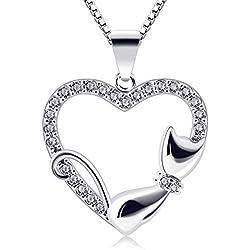 B Catcher Mujer Collar Corazón de Plata 925Colgante pequeño Gato San Valentín circonio cúbico