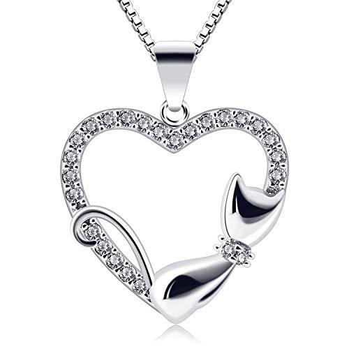 B.Catcher Corazón Collar Mujer Plata de Ley 925 Gato Colgante Navidad con Regalo Originales Cadena 45cm Longitud