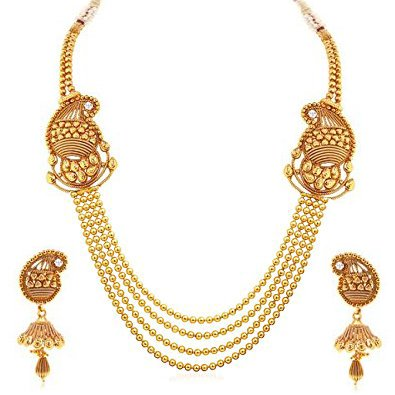 Valentine Gifts : YouBella Jewellery Gold Plated Necklace Jewellery set with Earrings For Girls/Women