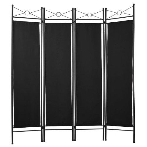 MIADOMODO 4-Fach Raumteiler Faltbare Trennwand Paravent spanische Wand Sichtschutz Schwarz