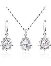 484eece5f72d Lágrimas Blanco Cristales austríacos de Zirconia Juego de joyas Collar con  colgante 45 cm Pendientes 18k Chapado en…