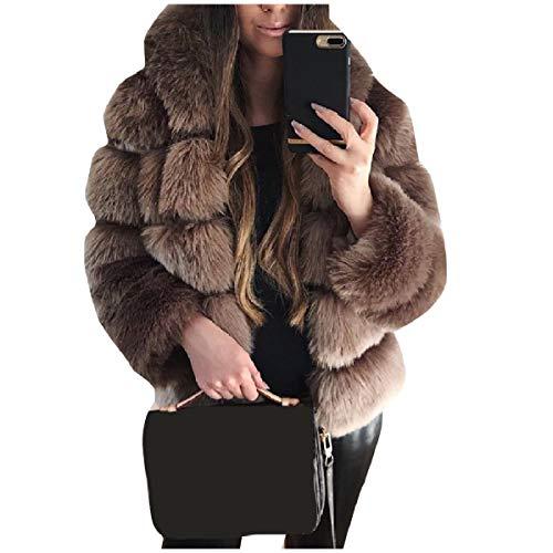CuteRose Women Shaggy Warm Winter Longline Warm Outwear Coat Brown XS -