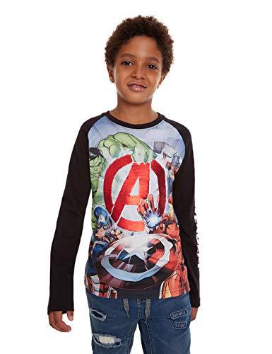 Desigual Jungen T-Shirt George Langarmshirt, Schwarz (Negro 2000), 128 (Herstellergröße: 7/8)