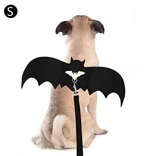 Dress Cute Kostüm Up - JLFDHR Halloween Haustier Hund Kostüme Fledermausflügel Vampir Schwarz Cute Fancy Dress Up Halloween Haustier Hund Katze Kostüm Dress-S
