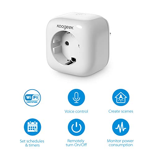 Koogeek Enchufe Inteligente Wifi,Inalámbrico Smart plug, Control Remoto de Voz Siri/Alexa/Google Assistant, Compatible con Apple HomeKit, No se requiere Hub, Temporizador, Android e iOS