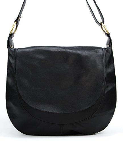 OH MY BAG Sac à Main en cuir souple femme porté bandoulière Modèle Perla (grand) Nouvelle collection NOIR
