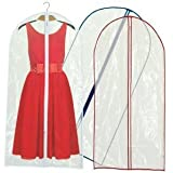 Hangerworld Synthetic 60-Inch Zipped Dress/Suit Covers Coloured Trim, Pack of 6, Crystal Clear