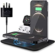 15W Wireless Charger, 4 in 1 Qi-Certified Fast Charging Station for Apple iWatch Series 6/5/4/3/2/1,AirPods,Wi