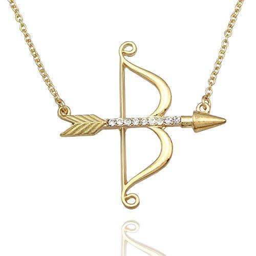 Q&Q Fashion Vintage Gold Amor Pfeil & Bogen Katniss Bogenschießen Charm Crystal Kette Halskette