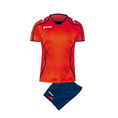 Zeus Herren Volleyball Set Trikot Hose Shirt Shorts Indoor Handball Training Ausbildung KIT VOLLEY UOMO FAUNO BLAU ROT (L)
